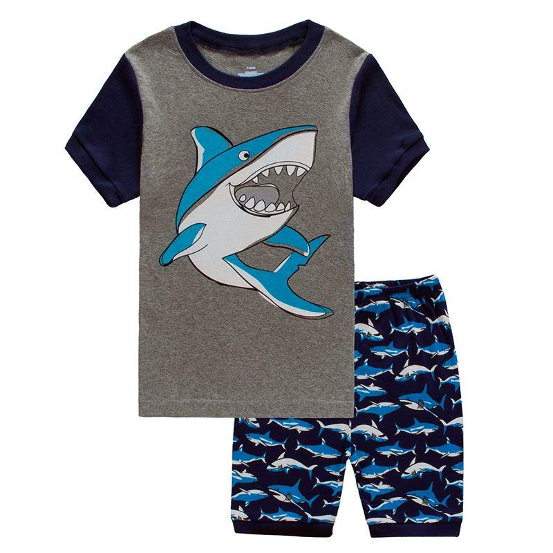 Colores Boys Summer Pijamas Sets Fijos Excavadora Impresión Pijamas Pijamas Pijamas Niños Pijamas Infantil Roupas Infantis Meni