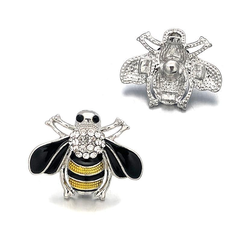 w319 النحل مكون كريستال 18mm والمعادن زر المفاجئة للحصول على سوار قلادة قابلة النتائج مجوهرات النساء ملحقاتها