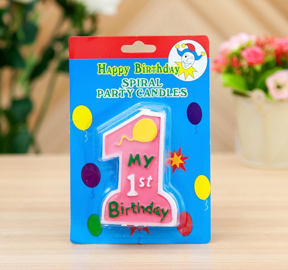 2019 1PC liberan la nueva del estilo de Linda niños primer cumpleaños Velas velas de cumpleaños de la magdalena primero para velas fiesta de cumpleaños