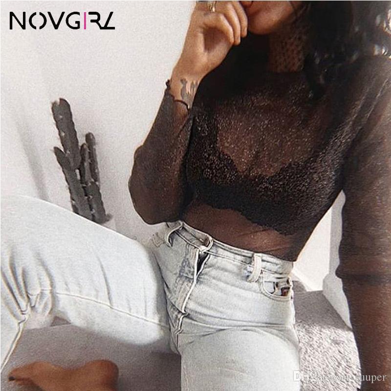 Novgirl الأزياء وركس شبكة T قمصان 2019 الخريف O الرقبة كم طويل من خلال الاطلاع على المحاصيل مثير الأعلى كلوبوير بنات الأسود المحملة القمم