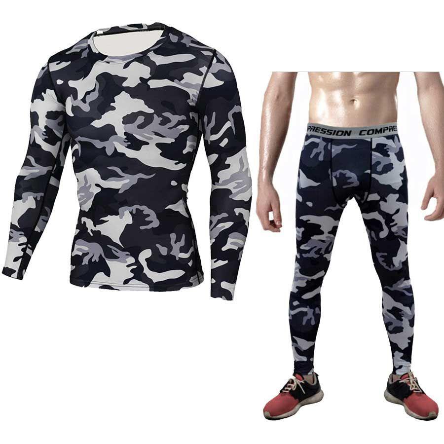 Men's Sleepwear Men Top Shirts + Tights Pants Long Johns Fitness Winter Quick Dry Gymming Spring Sporting Runs Workout Thermal Underwear Set