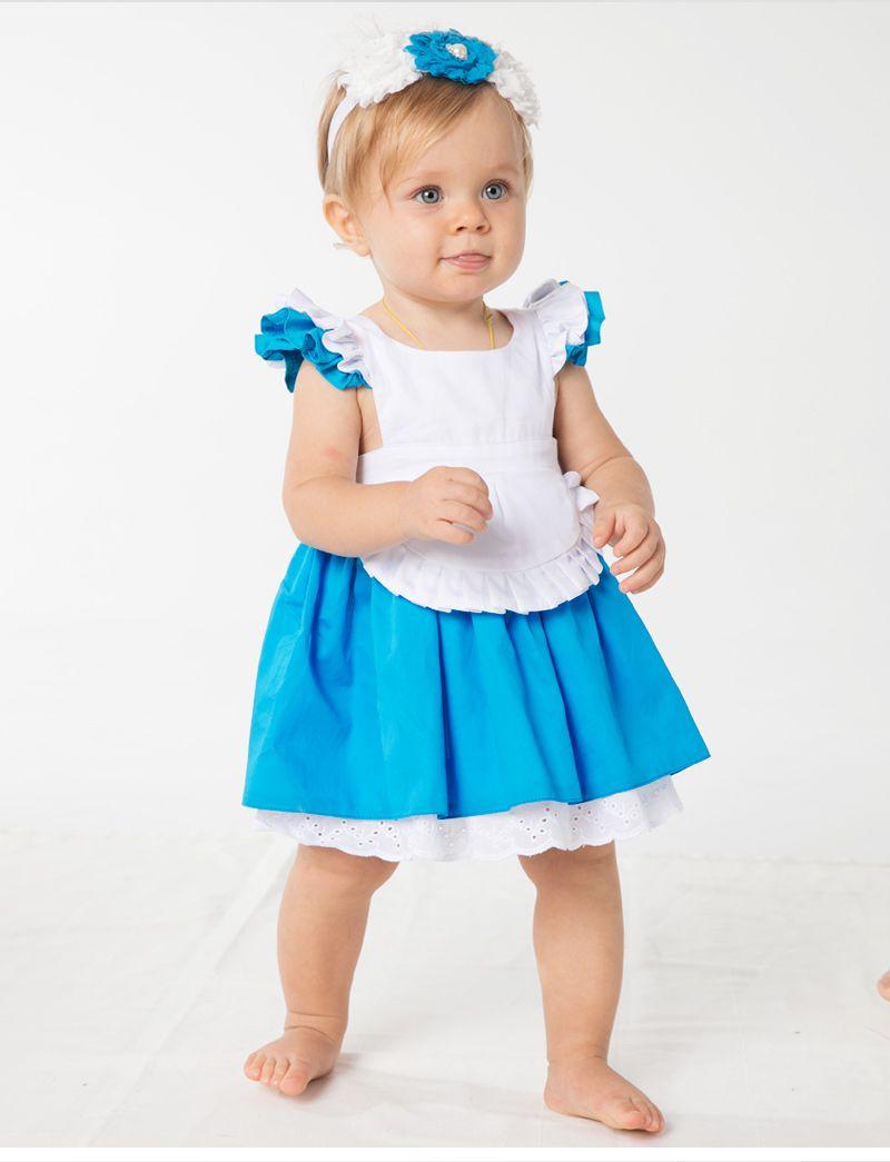 어린이 여름 100 % 코튼 공주 드레스 1-6T 아기 소녀 코스프레 스커트 앨리스 신데렐라 드레스 흰색 파란색 보우 치마 + 머리띠 = 2PCS / 세트
