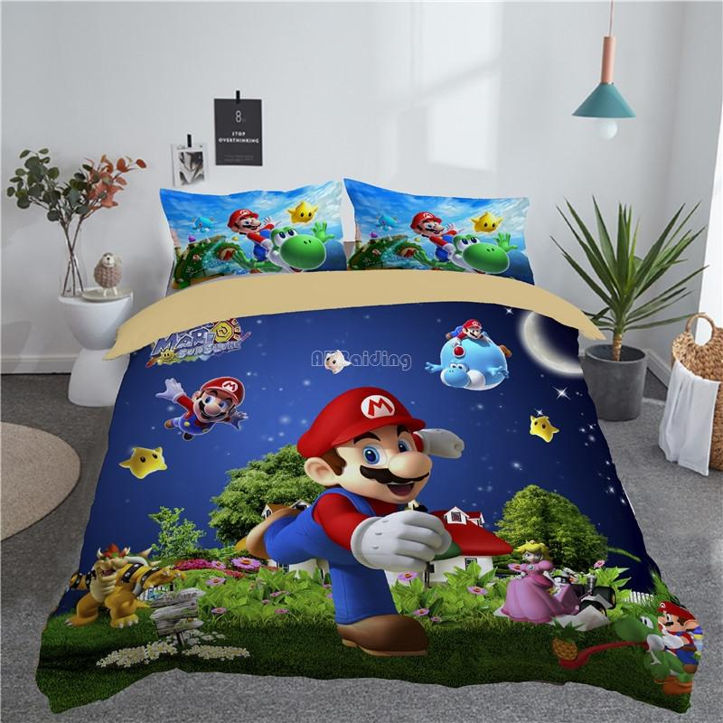 Home Textile 3d Mario Bro Children Bedding Sets Bed Linen Set King Queen Double Full Twin Single Bedclothes Free Shipping