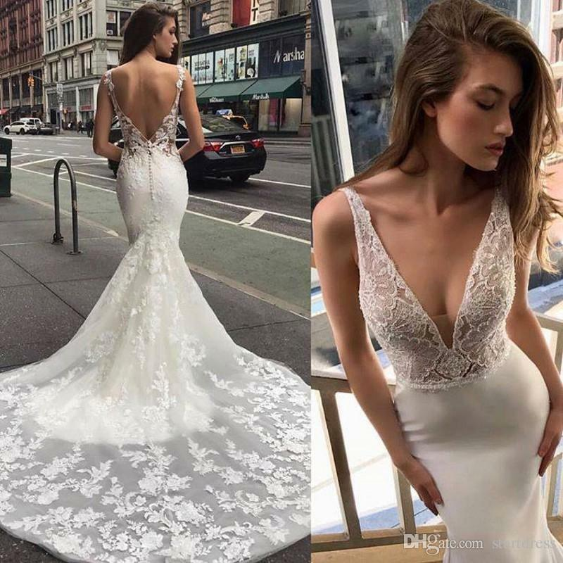 Vintage Backless Mermaid Wedding Dresses With Court Train Deep V Neck Appliques Lace Country Bridal Gowns Fishtail Boho wedding dress 2019