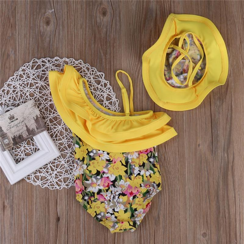 아기 소녀 수영복 2020 여름 노란색 꽃 인쇄 수영복 점퍼 점프 수트 + 모자 2 개 의상 어린이 수영복 수영복