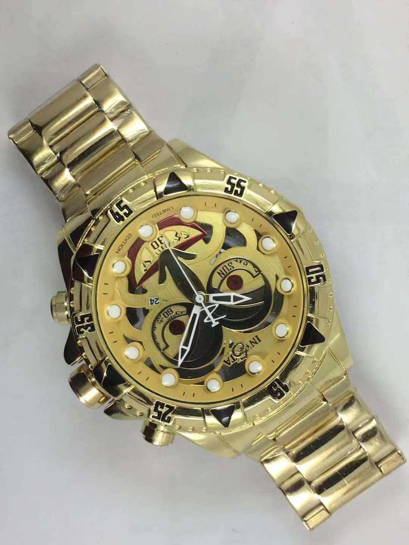 الرجال ذات نوعية جيدة إنفيكتا ساعة GOLD الفولاذ المقاوم للصدأ حزام relogies الرجال ووتش المعصم كوارتز للرجال relojes أفضل هدية الساخن بيع