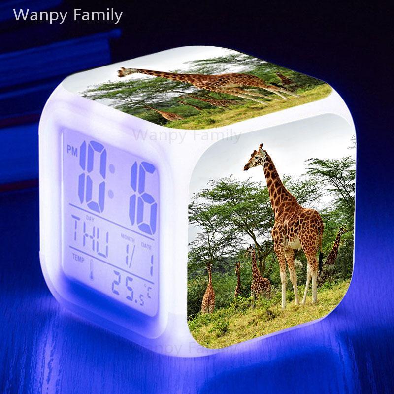 Girafe LED Réveil 7 Couleur Lumineux Multifunctio Touch Sensing Alarm Clock Grand écran Numérique Lumineux Électronique