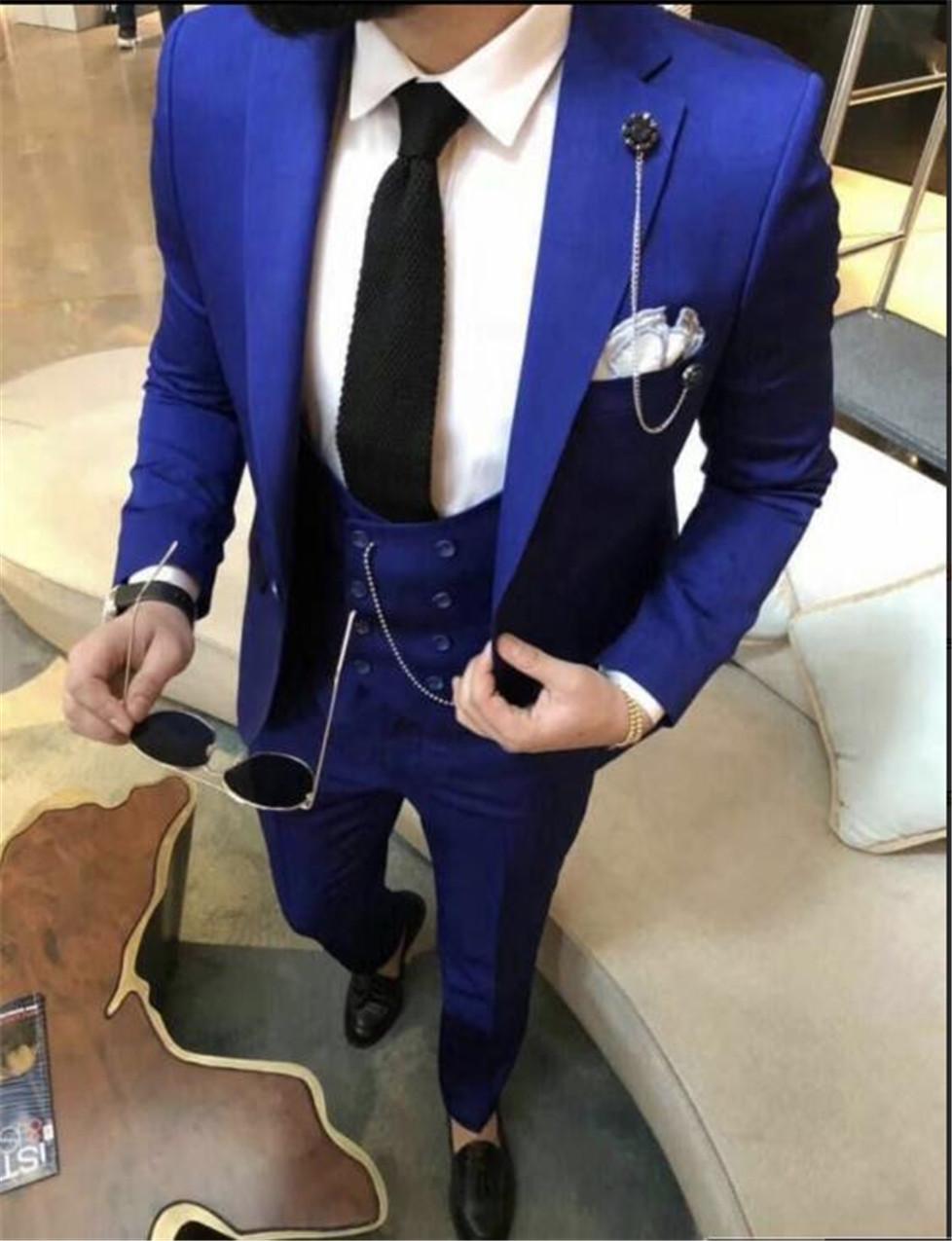 Новый стиль Groomsmen Нотч Groom Tuxedos Royal Blue Мужские костюмы Свадебные / Пром / Dinner Best Man Blazer (куртка + штаны + Tie + Vest) K288