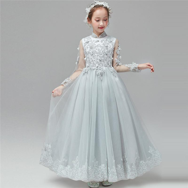 İlkbahar Yaz Şık Yeni Kız Çocuklar Uzun Kollu Doğum Akşam Partisi Prenses Uzun Örgü Elbise Çocuk Piyano Kostümleri Giydirme