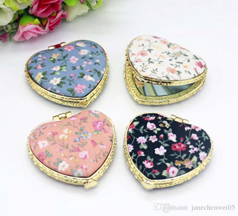1 pc mini compact miroirs Hart forme Miroir De Poche Floral Deux Côté pliant Make Up Miroir Femmes Vintage pour le cadeau 16 couleur