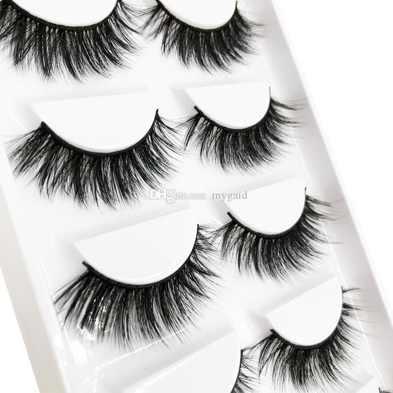 Wholesale 5D-05 Mink Eyelash 5pairs High Quality Eyelashes 100% handmade 5D Natural thick Long Fake Eyelashes