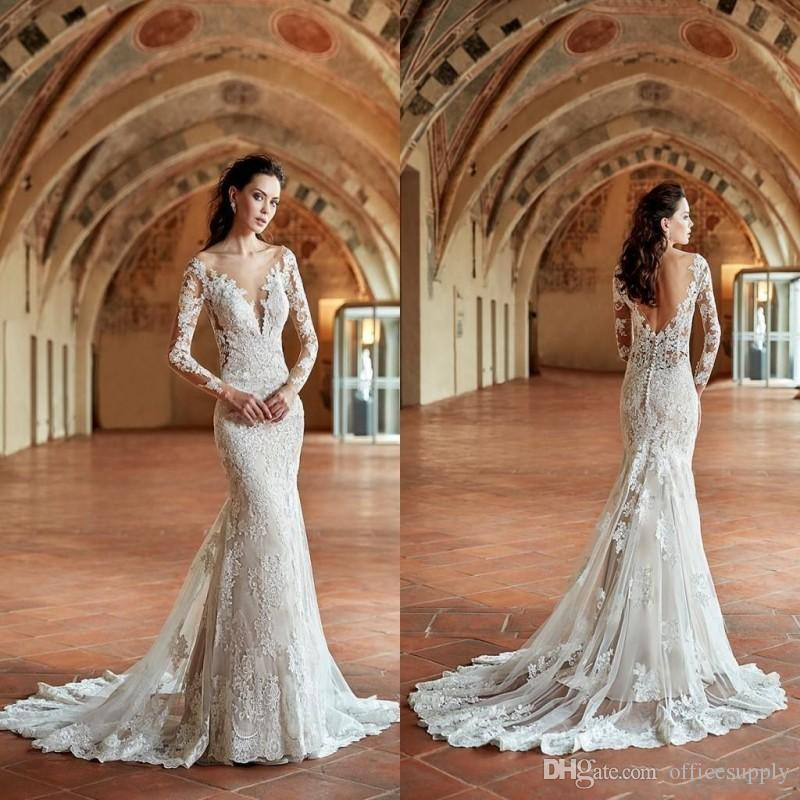New Design Autumn Vintage Lace Mermaid Wedding Dresses Crew Neck Sheer Long Sleeves Lace Appliqued Sexy Low Back Bridal Gowns