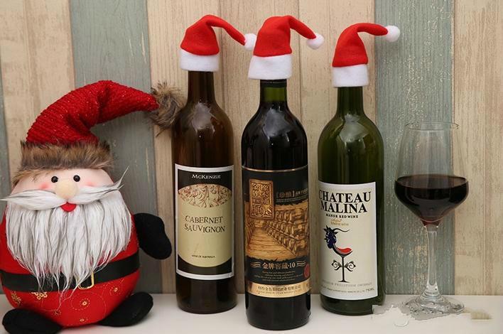 Новый год бутылка вина крышка маленькая шляпа для рождественских украшений бутылки дети подарок с Рождеством бар стол декор поставки GB1478