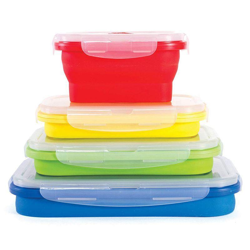BPA Free, Mikrodalga, Bulaşık Makinesi ve Dondurucu Güvenli - İnce Kutuları Katlanır 4 Silikon Gıda Saklama konteynırlarının Konteynerleri-Set