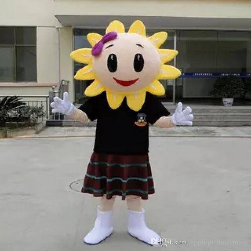 2019 hochwertige EVA Material Helm Frauen Sonnenblume Maskottchen Kostüme Crayon Cartoon Bekleidung Geburtstagsfeier Maskerade