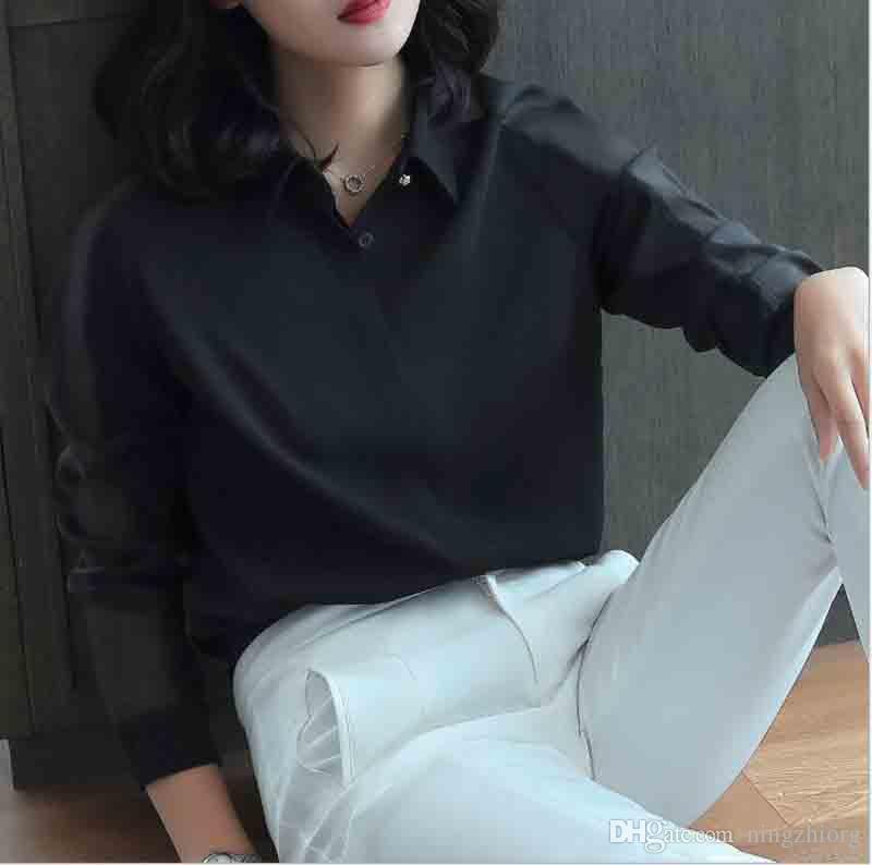 2019 primavera nueva camiseta de manga larga femenina de Corea del gran tamaño de la gasa de la camisa del diseño del estilo suelta camisa extranjera profesional