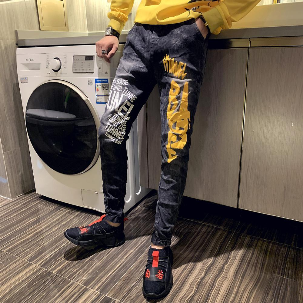 Nuova vendita calda di moda di marca 2019 pantaloni casual da uomo vintage di alta qualità stampati jeans slim fit giovani nove centesimi
