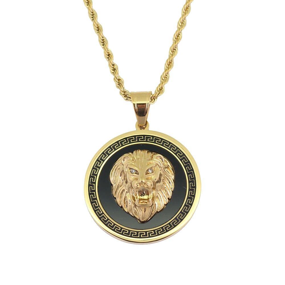 хип-хоп Львиная голова круглый кулон ожерелья для мужчин западной животных роскошные ожерелье из нержавеющей стали кубинские цепи собака тег ювелирные изделия бесплатная доставка