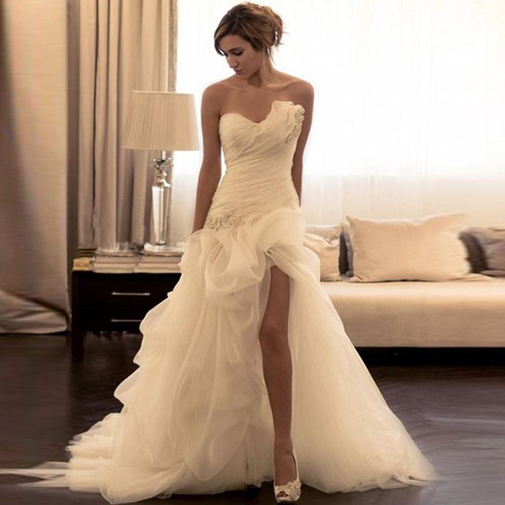 Romantic Organza Mermaid Wedding Dress Asymmetrical Beading Sweetheart Wedding Dresses High Slit Sweep Train Bridal Gowns