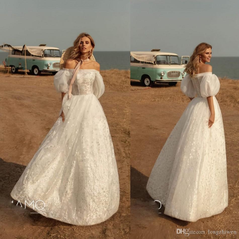 A Linha do casamento Vestidos Alças Poeta manga comprida apliques Tulle Além disso Vestido de Noiva Tamanho Comprimento Pavimento Robes De Mariée