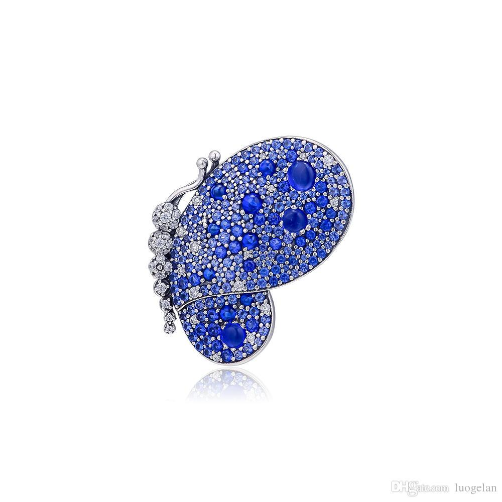 Acheter 2019 Printemps 925 Sterling Bijoux En Argent Éblouissant Papillon  Bleu Broche Charme Perles Convient Pandora Bracelets Collier Pour Les  Femmes ...