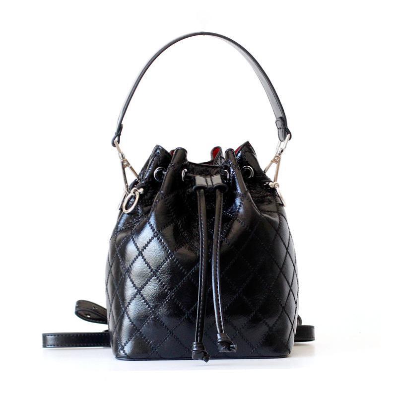Overseas2019 Drawstring Rhombic Rough-line Genuine Leather Bucket Package