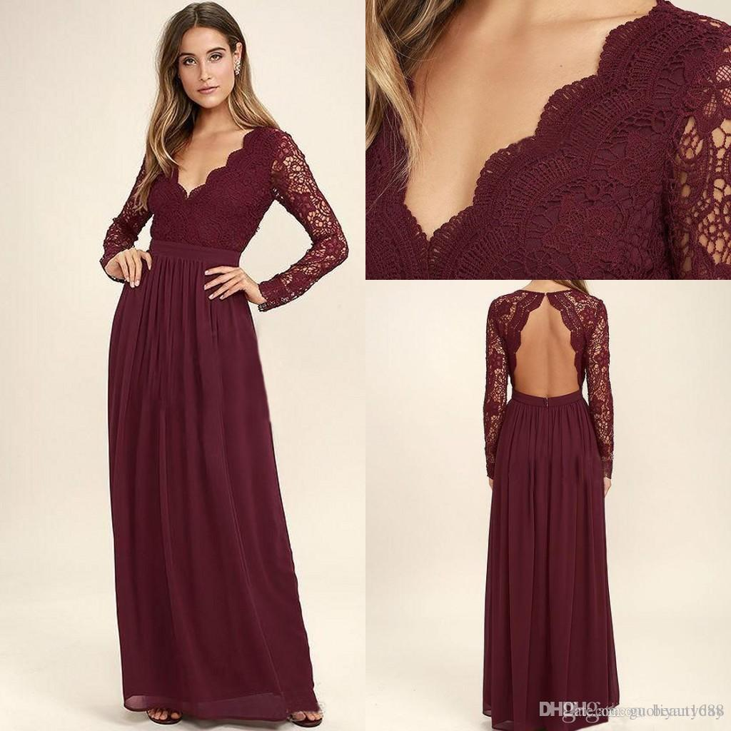 2020 Burgundy Long Sleeves Bridesmaid Dresses For Wedding Lace Chiffon Long Sleeve Mermaid Maid Of Honor Gowns Wedding Guest Formal Dress