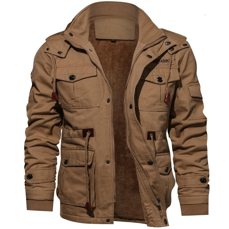 Veste d'hiver militaire Hommes Casual épais manteau thermique Armée pilote Jackets Air Force Cargo Outwear Polaire Veste à capuche 4XL Vêtements V191128