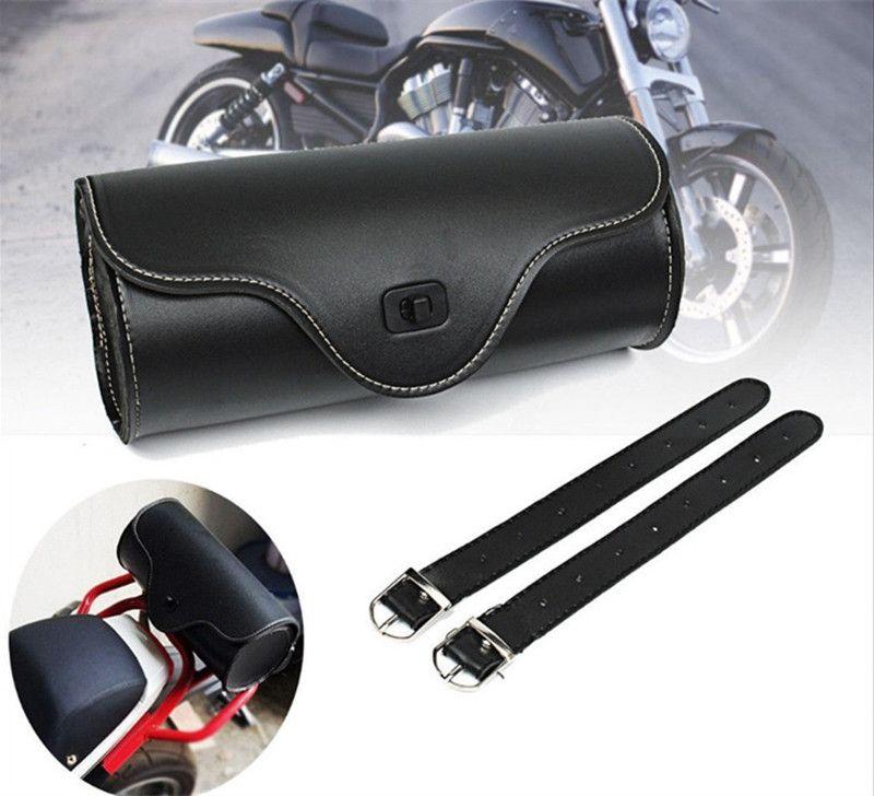 할리 유니버설에 대한 빈티지 블랙 오토바이 안장 가방 PU 가죽 오토바이 사이드 도구 꼬리 가방 짐