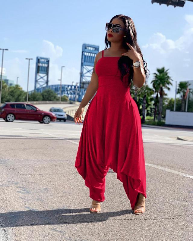 Women's Jumpsuits & Rompers Wjustforu Solid Color Sexy Spaghetti Strap Harem Pants Jumpsuit For Women Casual Fashion Loose Mid Waist 5 Color