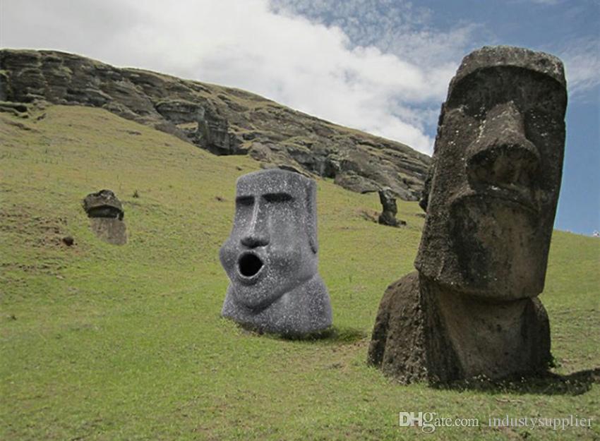 Kapalı A07 Easter Mendil taş dikey Kağıt havlu kutusu Moai yüz şekli Doku tutucu moai reçine üç boyutlu ped kutusu