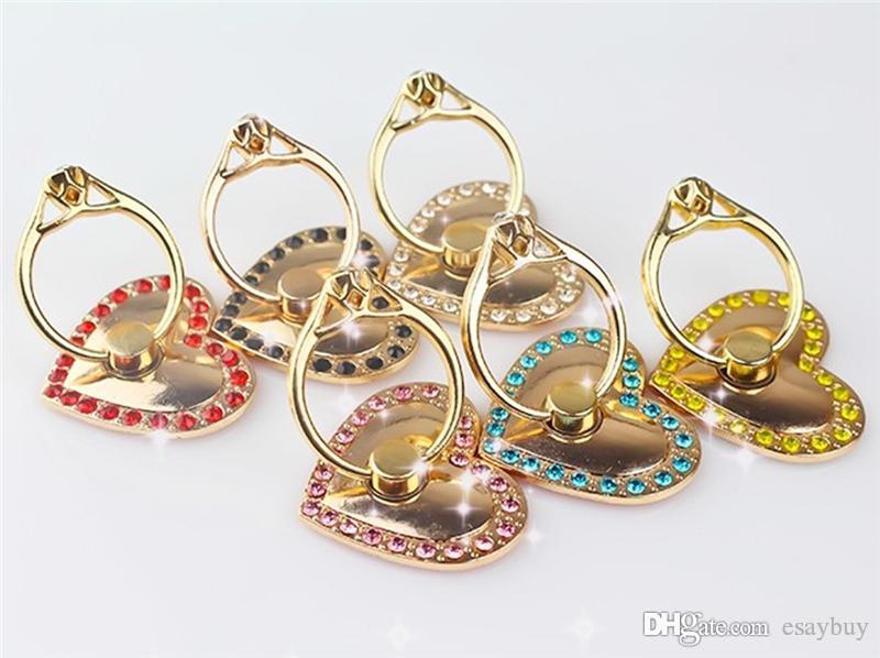 Love Heart anneau en métal Porte Cartoon téléphone portable endoprothèses bling Diamond Ring Phone Holder avec emballage vendu au détail pour le téléphone portable samsung