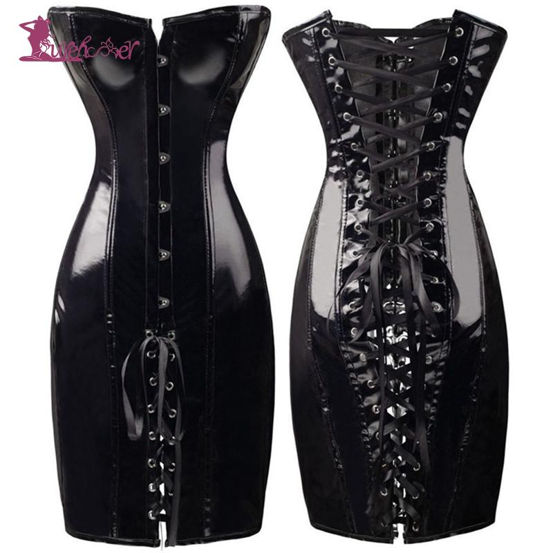 Lurehooker Sexy Lingerie Hot PVC Leather Gothic Corset Porn Dress Plus Size Erotic Wrapped Hip Dance Club Sexy Costume T thong