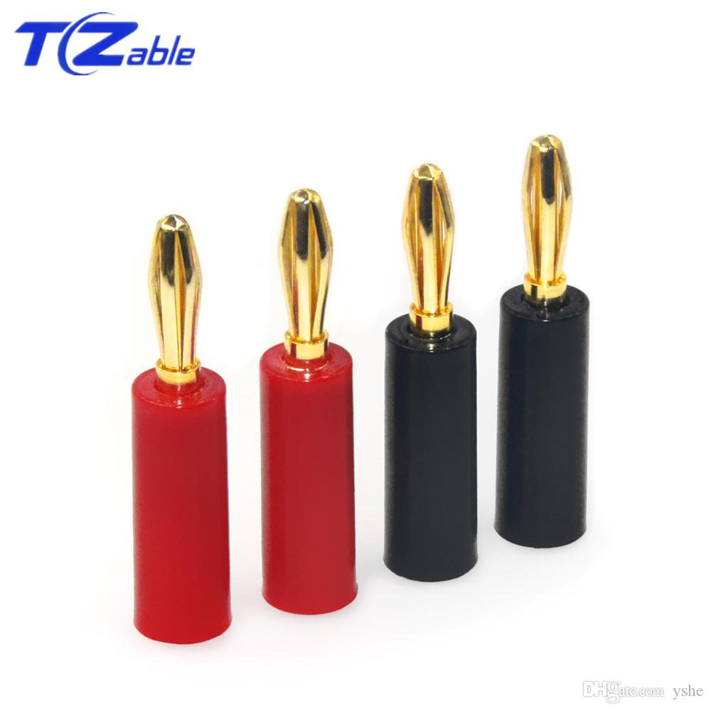 50pcs Banana Plug Connector Copper Gold Plated Free Welding Audio Amplifier Terminal Block Speakers Cable Plug Hifi Speaker Connectors