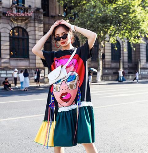 2020 Frühlings-Tierdruck-und Sommer-Big Size Kleid Streetbaumwollkleid Selbstporträt Kleid Karikatur Knielänge