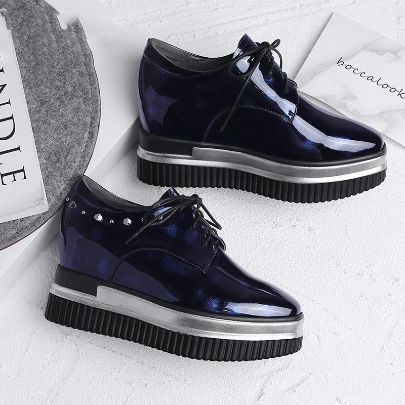 Hot Sale-High Quality ! Fashion Printed Leather Rivet Platform Handmade Height Increasing Shoes
