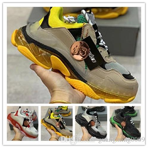 Designer Triple S Calçados Limpar bolha Midsole Homens Mulheres Green Black White Triple-S Sneakers Casual Aumentar couro Dad Shoes 0n12