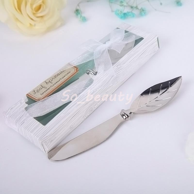 10pcs Chrome Leaf Butter Spreader with Gift box Butter Knife Wedding Favors Christmas Home Party Gifts