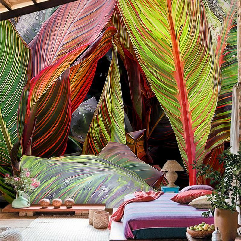 Personalizado 3D Mural grande Dormitorio Sala de estar Sofá TV Papel pintado a mano Selva tropical Hoja de plátano No tejido Fotomural