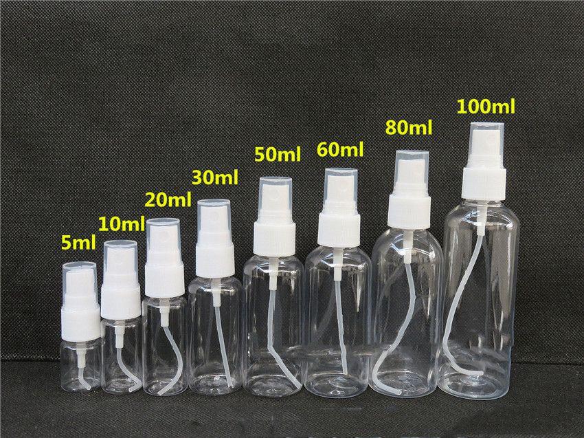 20 30 50 60 80 100ml PET Clear Empty Cosmetic Spray bottle Sample Bottles Refillable Bottles Transparent Plastic Perfume Bottle Sprayer A05