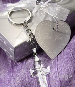 DHL Church Party Giveaway Gift For Guest Crystal Cross Key Chains wedding favors souvenirs bridal shower Party Festive Favors