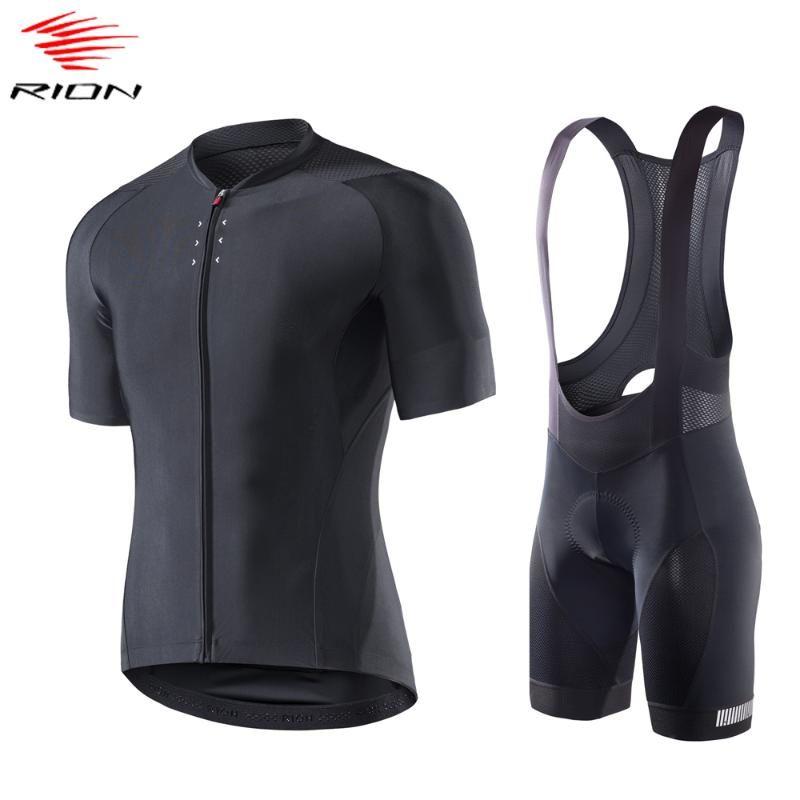 RION verano de los hombres ciclismo conjunto Jersey manga corta de la bici MTB de la bicicleta del gel cojín de ciclo del babero ropa ciclismo hombre