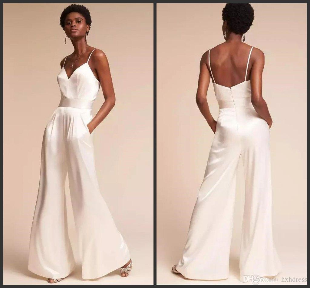 New Fashion White Spaghetti Strap Jumpsuits Prom Dresses V Neck Backless Pantsuit Celebrity Evening Gowns Plus Size Cocktail Party Dress