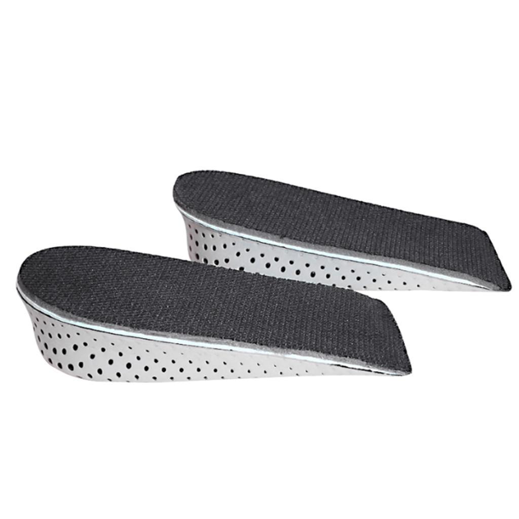 1 par de plantillas de zapatos transpirable medio elevado tacón inserto zapatos deportivos almohadilla cojín unisex 2-4 cm altura aumento de la altura A40