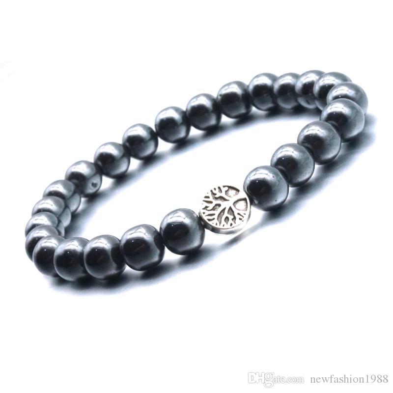 Arbre de vie 8MM Hématite perles Huile Essentielle Bracelet de guérison du Reiki équilibre Perles Bouddha prière Bracelet Femmes Hommes Bijoux
