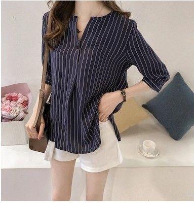 Kadınlar Giyim Kadın Bluz Yeni Yaz Artı boyutu 4XL Beyaz Kadın Çizgili Casual Kadınlar Şifon Bluz Gömlek Şifon 0753 30 blusas Tops