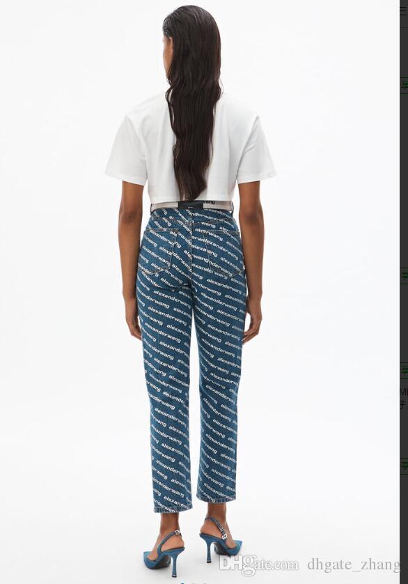 2020 FEMMES jeans filles mode pantalon Wite lettre 285