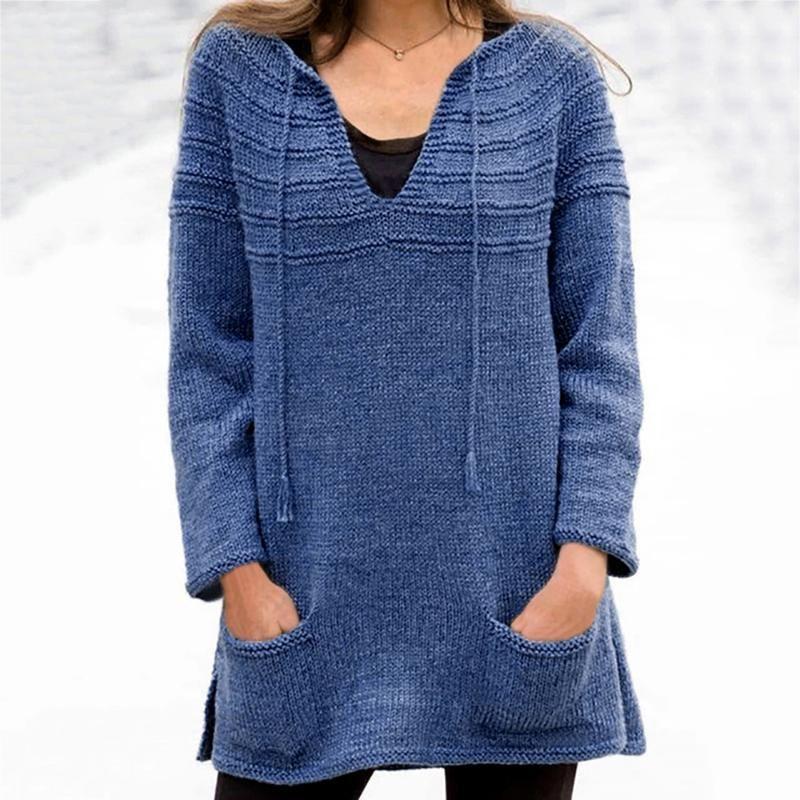 Fashion Damen Solid Color Langarm-Pullover und Strickjacken Frauen Sexy V-Ausschnitt Pullover Tops Kordelzug Taschen lose Pullover