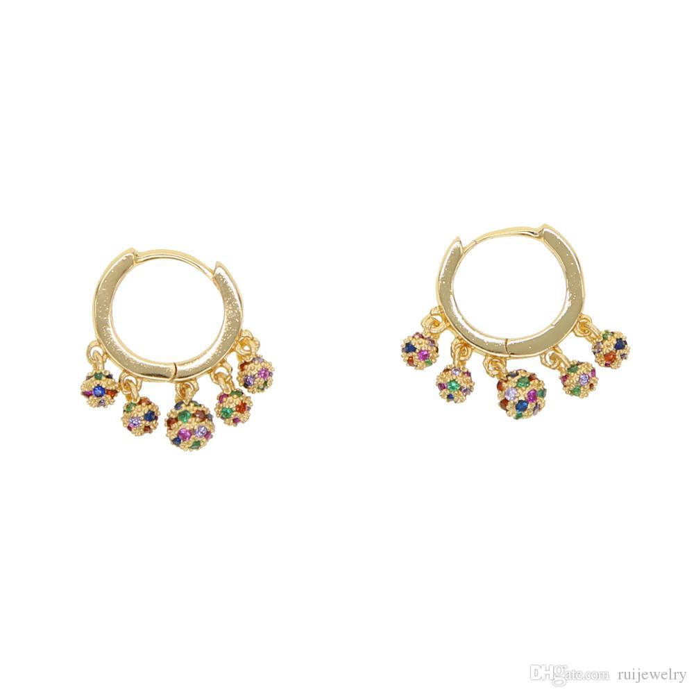 2019 neue stil gold gefüllt charme elegant 5 mini runde ohrringe pved rainbow cz schmuck schöne modische ohrringe für frauen mädchen