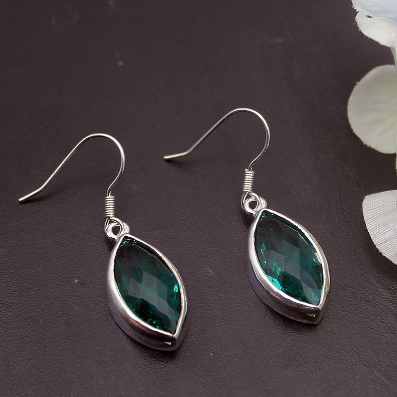 wholesale Fantasy Hot Sale Green Topaz925 Sterling Silver Dangle Earrings For Women Fashion Jewelry 1 3/8 Inch ME094
